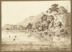 View of the Ram Silla Hill and the bungalow belonging to George Proctor Beauchamp, Collector of the Pilgrim Tax, Gaya (Bihar). 25 December 1824